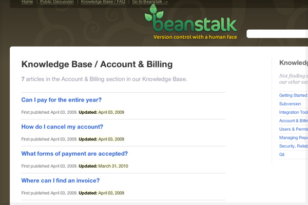 Beanstalk FAQ Wording