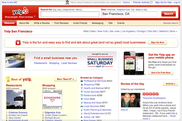 Yelp is functional despite being simple